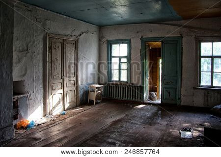 Old Forgotten Abandoned House Interior. House Left By People In Russia.