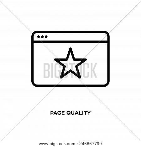 Page quality vector icon on white background. Page quality modern icon for graphic and web design. Page quality icon sign for logo, website, app, ui. Page quality flat vector icon illustration, EPS10 stock photo
