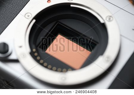 Professional Digital Camera APS-C Sensor and lens mount. Macro, close-up stock photo