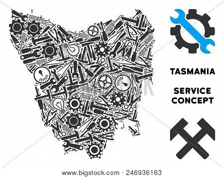Repair workshop Tasmania Island map mosaic of tools. Abstract territory scheme in grey color. Vector Tasmania Island map is created from gearwheels, wrenches and other equipment items. stock photo