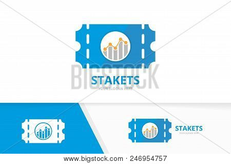 Vector ticket and graph logo combination. Ducket and diagram symbol or icon. Unique card and chart logotype design template. stock photo