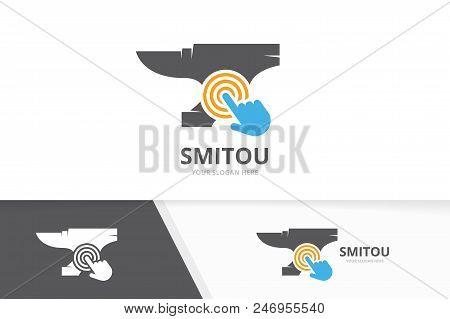 Vector smith and click logo combination. Blacksmith and cursor symbol or icon. Unique metal and digital logotype design template. stock photo