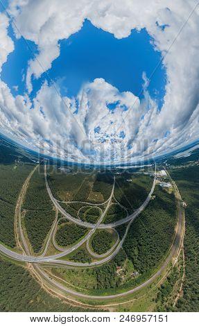 Sphere Planet. Riga, Latvia, virtual, reality vr technology 360 life simulation Drone shot Daugava river Sphere Vansu tilts stock photo