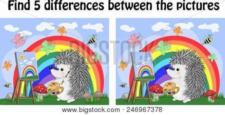 Find the differences between the pictures. Children's educational game. A hedgehog artist on a clearing with a rainbow draws on an easel stock photo