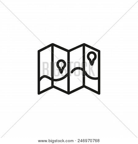 🔥 Map And Pointers On Brochure Line Icon  Leaflet, Marker