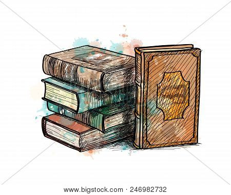 Stack of multi colored books from a splash of watercolor, hand drawn sketch. Photo illustration of paints stock photo