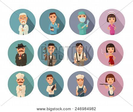 Set icon people different professions. Doctor, cook man, chef, waitress, mafia don, gangster, prostitute. Vector flat icon with shadow on color circle stock photo