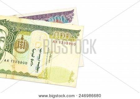 two mongolian togrog bank notes with copy space stock photo