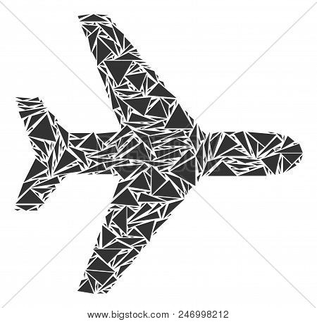 Air plane mosaic of triangle elements in various sizes and shapes. Vector triangles are organized into air plane mosaic. Geometric abstract vector illustration. stock photo