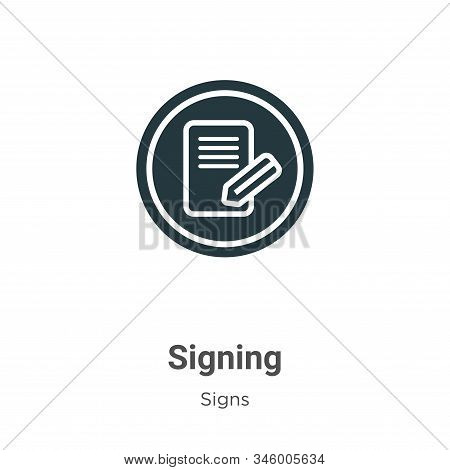 Signing vector icon on white background. Flat vector signing icon symbol sign from modern signs collection for mobile concept and web apps design. stock photo