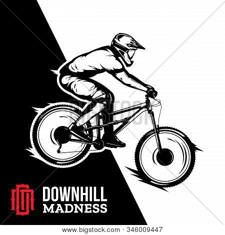 Vector downhill mountain biking badge, logo, label with rider on a bike and mountain silhouette. Downhill, enduro, cross-country biking illustration stock photo