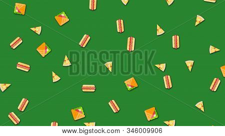 Animated background with repeating food pattern on green background. Animation. Beautiful cartoon animation with vibrating repetitive food drawings. stock photo