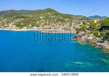 Rocky bay in Camogli, Italy. Aerial view on Adriatic seaside, liguria. stock photo