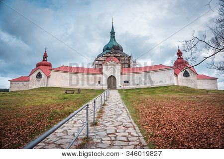 Church of St. John of Nepomuk on Zelena Hora - UNESCO monument. It was built in baroque gothic style and was designed by architect Jan Blazej Santini-Aichel. It is placed near Zdar nad Sazavou town. stock photo