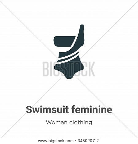 Swimsuit feminine vector icon on white background. Flat vector swimsuit feminine icon symbol sign from modern woman clothing collection for mobile concept and web apps design. stock photo