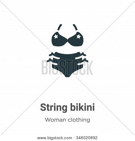 String bikini vector icon on white background. Flat vector string bikini icon symbol sign from modern woman clothing collection for mobile concept and web apps design. stock photo