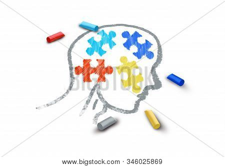 Autism awareness symptoms concept and autistic development disorder as a symbol of a communication and social behavior psychology as a puzzle chalk drawing on asphalt in a 3D illustration style on a white background. stock photo