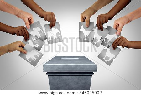American election with groups of conservative republican voters and liberal democrat voting public as a community vote as diverse hands casting ballots as a democratic right in the United States with 3D illustration elements. stock photo