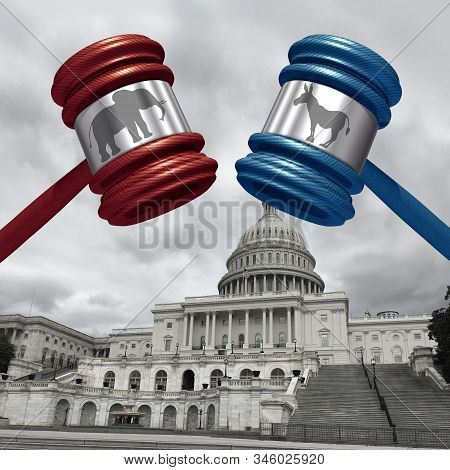Impeachment trial and impeaching the american president as congress and law in the United States with 3D illustration elements. stock photo