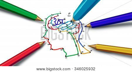 Mental health psychology and psychological disorders mecical concept with 3D illustration elements. stock photo