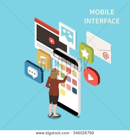 Mobile interface isometric design concept with email video chat music app signs and icons on smartphone screen vector illustration stock photo