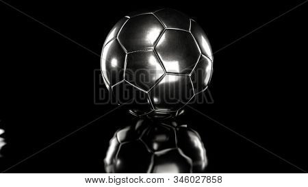 Silver socer ball on black background. 3d render. stock photo