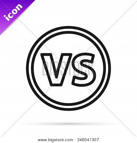 Black line VS Versus battle icon isolated on white background. Competition vs match game, martial battle vs sport. Vector Illustration stock photo