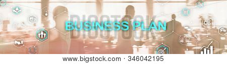New Business Plan. Analysis and strategy concept. Horizontal Panoramic banner. stock photo