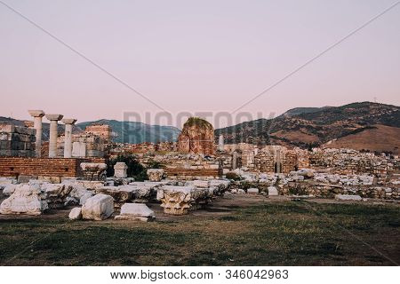 Selcuk,Turkey.Basilica of St. John.Ruins of old city.Archaeological excavations.Ruins on background of mountains.Open-air museum.Architecture and nature of Turkey.City view.Abandoned castle. stock photo