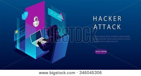 Isometric Internet Hacker Attack and Personal Data Security Concept. The Hacker at the Computer. Computer Security Technology. E-mail Spam Viruses, Bank Account Hacking. Vector Illustration stock photo