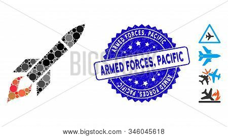 Mosaic missile flight icon and distressed stamp seal with Armed Forces, Pacific caption. Mosaic vector is created with missile flight pictogram and with random circle spots. Armed Forces, stock photo