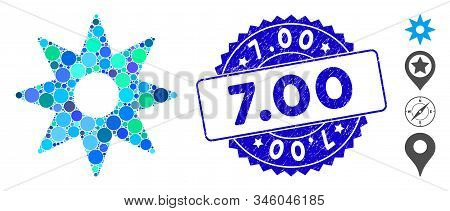 Collage navigator star icon and grunge stamp seal with 7.00 text. Mosaic vector is designed with navigator star pictogram and with random round elements. 7.00 stamp seal uses blue color, stock photo