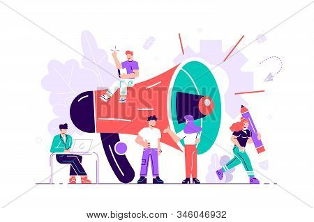 Business promotion, advertising, call through the horn, online alerting. Flat style vector illustration for web page, social media, documents, cards, posters. Group of people shouting on megaphone. stock photo