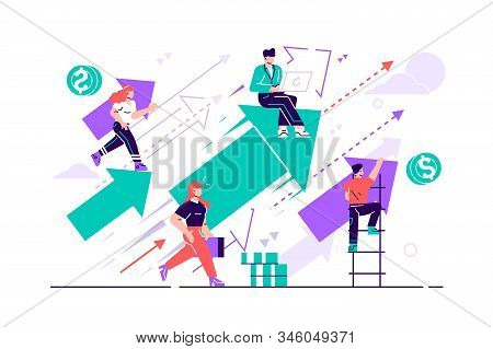 Business vision. Concept career growth. Career, start up, take-off on the career ladder. Flat style vector illustration for web page, social media, documents, cards. People sitting on arrow and up go. stock photo