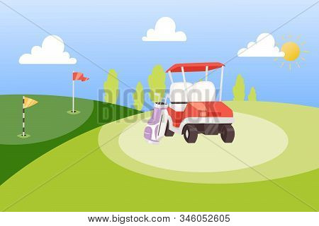 Golf tournament cartoon poster background vector illustration. Golf banner design template. Summer sports competition and outdoor leisure. Bag with golf clubs, car and red flag on green background. stock photo