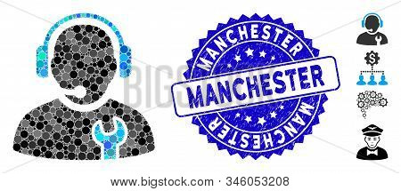 Mosaic service operator icon and rubber stamp seal with Manchester caption. Mosaic vector is formed from service operator icon and with randomized round elements. stock photo