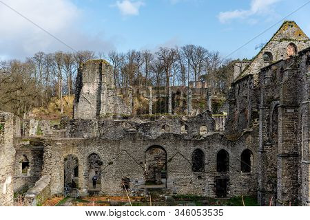 Villers Abbey (abbaye de Villers) is an abandoned ancient Cistercian abbey located in the town of Villers-la-Ville, in the Walloon Brabant province of Wallonia (Belgium), one piece of the Wallonia's Major Heritage  fallen into ruins stock photo