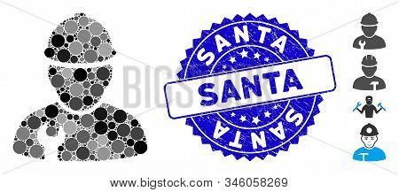 Collage worker icon and rubber stamp seal with Santa caption. Mosaic vector is designed with worker icon and with scattered circle spots. Santa stamp seal uses blue color, and rubber texture. stock photo