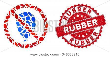 Mosaic no rubber balloon icon and red rubber stamp seal with Rubber phrase. Mosaic vector is composed with no rubber balloon icon and with randomized elliptic items. Seal imitation uses red color. stock photo
