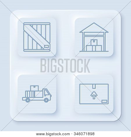 Set line Wooden box , Warehouse , Delivery truck with cardboard boxes and Cardboard box with traffic symbol . White square button. Vector stock photo