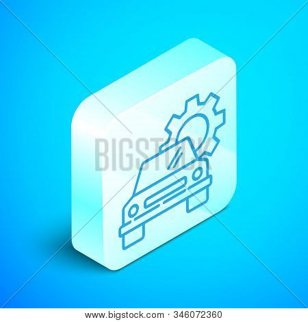 Isometric line Car service icon isolated on blue background. Auto mechanic service. Repair service auto mechanic. Maintenance sign. Silver square button. Vector Illustration stock photo