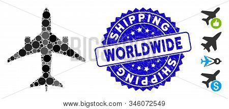 Mosaic jet plane icon and rubber stamp seal with Shipping Worldwide phrase. Mosaic vector is composed with jet plane icon and with random round elements. Shipping Worldwide stamp uses blue color, stock photo