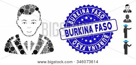 Mosaic noble icon and corroded stamp seal with Burkina Faso phrase. Mosaic vector is composed with noble pictogram and with randomized round items. Burkina Faso stamp seal uses blue color, stock photo