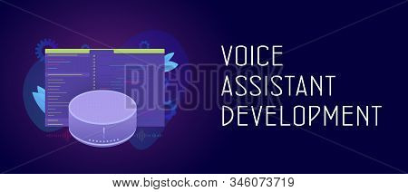 Smart Voice Assistant development application cooncept. Smart speaker with wireless voice assistant app software with developer code window. Header and footer banner template with text stock photo