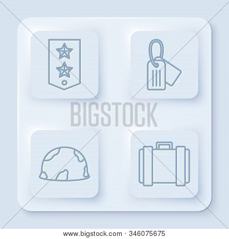 Set line Chevron , Military dog tag , Military helmet and Military ammunition box. White square button. Vector stock photo