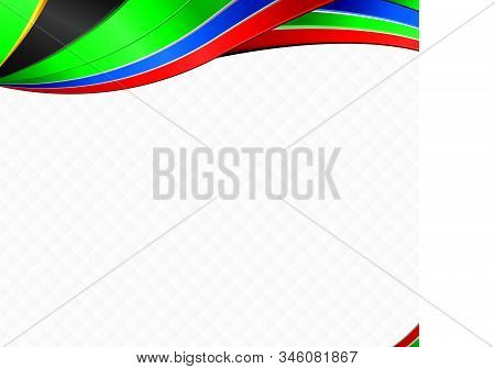 Abstract background with wave shapes with the black, yellow, green, blue, red colors of the flag of South Africa to use as Diploma or Certificate stock photo