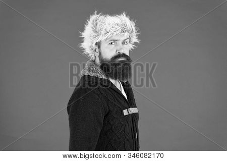 ready to beat winter cold. fur hat accessory. bearded man ready for winter activity. get warm and comfortable. male fashion. serious trendy hipster. beard care in cold season. brutal man earflap hat. stock photo
