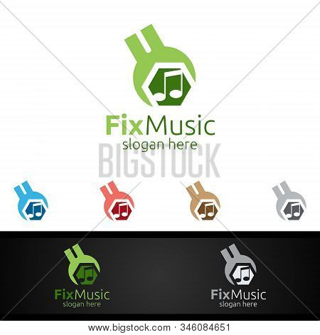 Fix Music Logo with Note and Fix Concept stock photo