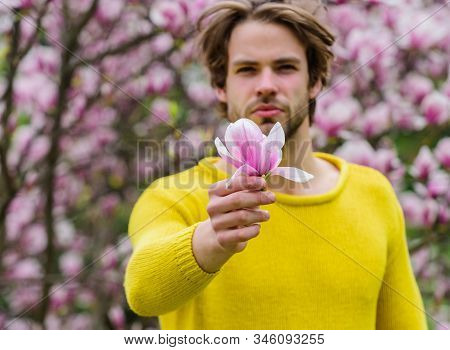 Floral cosmetics concept. Hipster enjoy blossom aroma. Unshaven man magnolia bloom. Man flowers background defocused. Hairdo styling. Spring beauty. Botany nature. Male beauty. Hair care and beauty stock photo