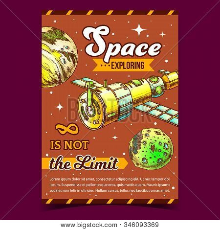 Space Exploring Satellite Advertise Poster Vector. Satellite For Navigation System And Explore Cosmos, Moon And Planet. Cosmic Station Hand Drawn In Vintage Style Colorful Illustration stock photo